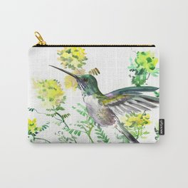 mmingbird design green yew Hummingbird and Yellow Flowers Carry-All Pouch