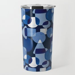 Blue Watercolour Geometric on Dark Blue Background Travel Mug
