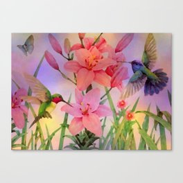 Painterly Hummingbirds And Flowers Canvas Print