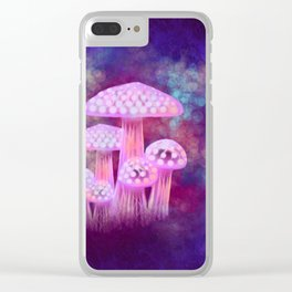 Pink Glowing Mushrooms Clear iPhone Case