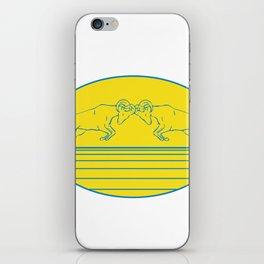 Bighorn Sheep Ram Butting Heads Drawing iPhone Skin