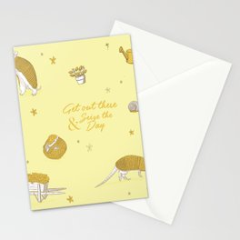 Yellow armadillo pattern Stationery Cards