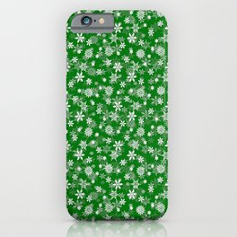 Festive Green and White Christmas Holiday Snowflakes iPhone Case
