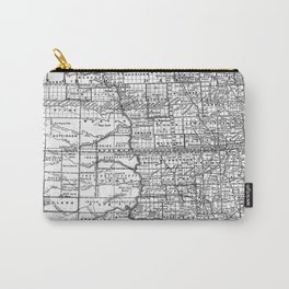 Vintage Map of North and South Dakota (1891) BW Carry-All Pouch