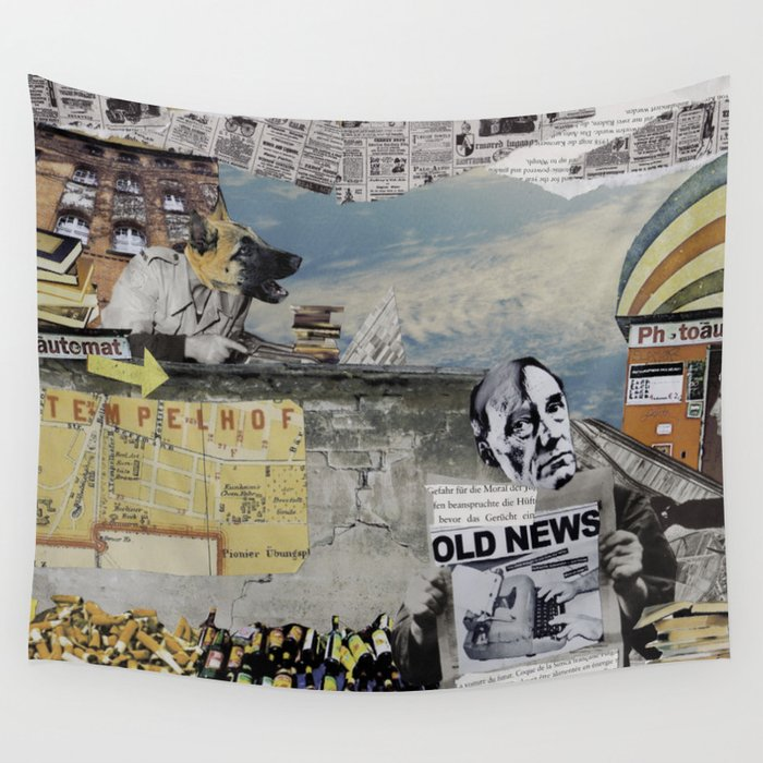 Old News Wall Tapestry