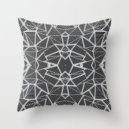 Abstract Lines Black and Silver M Throw Pillow