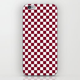 White and Burgundy Red Checkerboard iPhone Skin