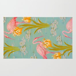 Papier peint - Isidore Leroy - 1905 Flamingo Pond Floral Pastel Pattern Rug