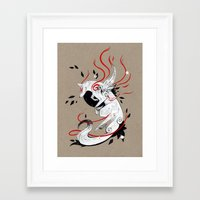 okami Framed Art Prints featuring OKAMI RIBBONS by Rubis Firenos