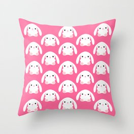 Mei the Strawberry Rabbit Throw Pillow