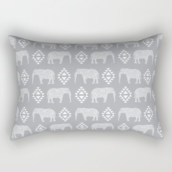 Elephant geometric southwest modern monochromatic grey children kids nature safari pattern  Rectangular Pillow