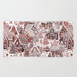 Gingerbread House Christmas village Beach Towel