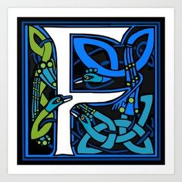 Celt Peacocks Letter F Art Print