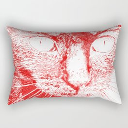 Fluffy's eyes drawing, red Rectangular Pillow