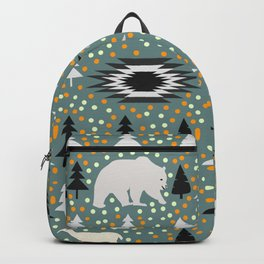 Winter pattern with deer, bears and dots Backpack