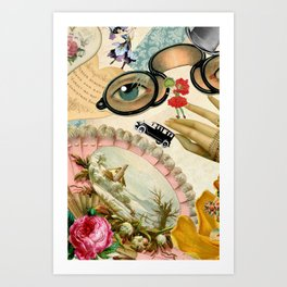 Vintage Romatic Collage Art Print