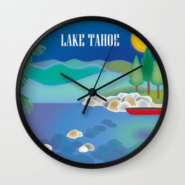 Lake Tahoe - Skyline Illustration by Loose Petals Wall Clock