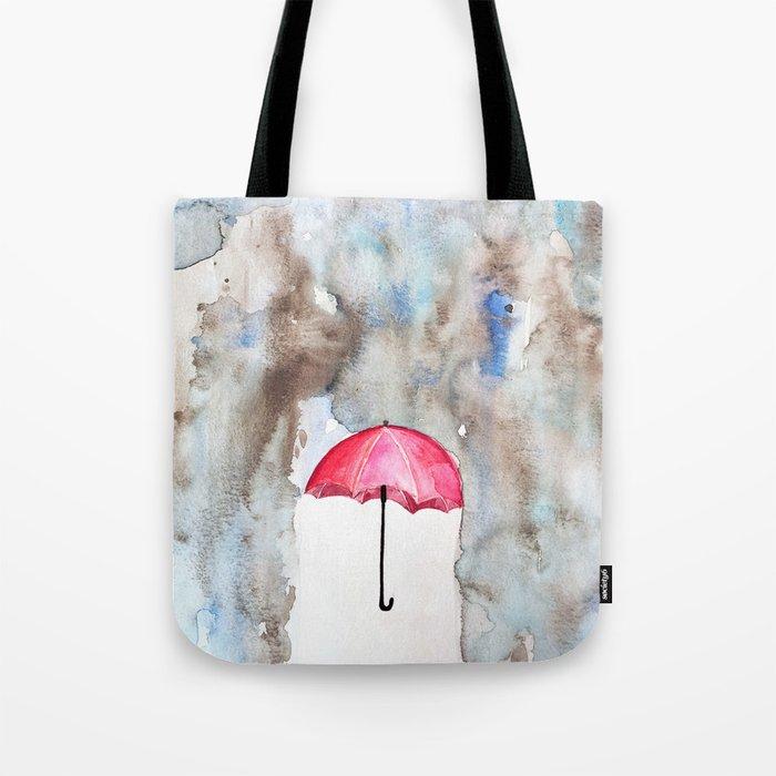 The Red Umbrella Tote Bag