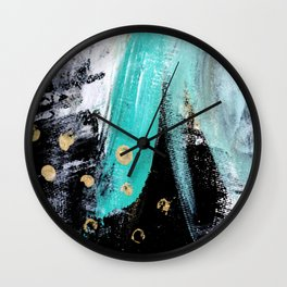 Fairy Dreams: an abstract mixed media piece in black, white, teal, and gold Wall Clock