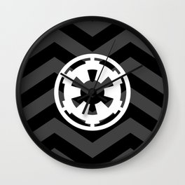 Imperial Cog and Chevrons in White Black and Gray Wall Clock