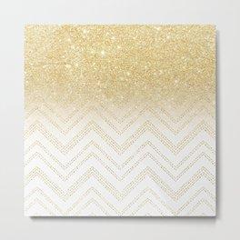 Modern gold ombre chevron stitch pattern Metal Print