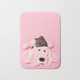Gray Cat On Pink Bath Mat