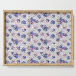 Hydrangeas and French Script with birds on gray background Serving Tray
