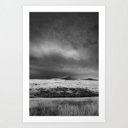 Tree on a Stormy Field Art Print