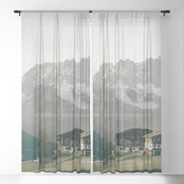 House with Mountain View   Landscape Photography Alps   Print Art Sheer Curtain
