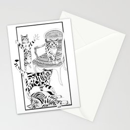 Cats with a chair - Ink artwork Stationery Cards