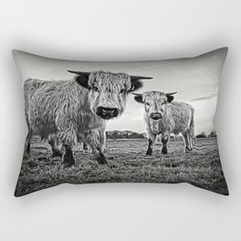 Two Shaggy Cows Rectangular Pillow