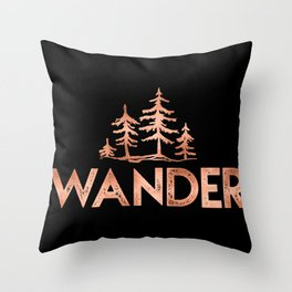 WANDER Rose Gold Trees on Black Throw Pillow
