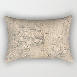 Vintage Map of Athens Greece (1841) Rectangular Pillow