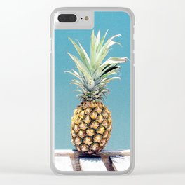 Pineapple on blue Clear iPhone Case
