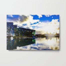 Arctic Circle Sunset Behind a Ship on the Sea behind the Harpa Concert Hall in Reykjavik, Iceland Metal Print