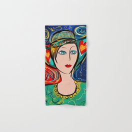 Pop Girl Art Deco with Hat and hearts Hand & Bath Towel