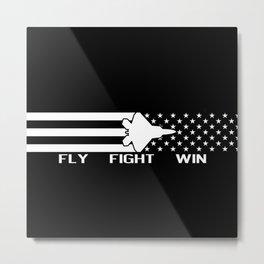 U.S. Military: F-22 - Fly Fight Win (Black Flag) Metal Print