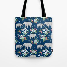 Elephants pattern navy blue with florals cute nursery baby animals lucky gifts Tote Bag