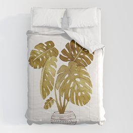 Golden  Monstera Plant Comforters