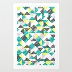 scribble triangles Art Print