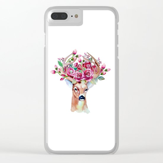 Shy watercolor floral deer Clear iPhone Case