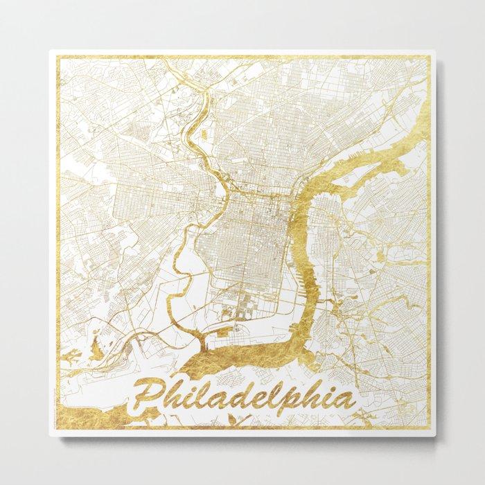 Philadelphia Map Gold Metal Print