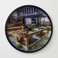 kitchen Wall Clocks featuring Olde Kitchen by Ian Mitchell