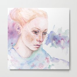 Waterolor portrait of a girl Metal Print