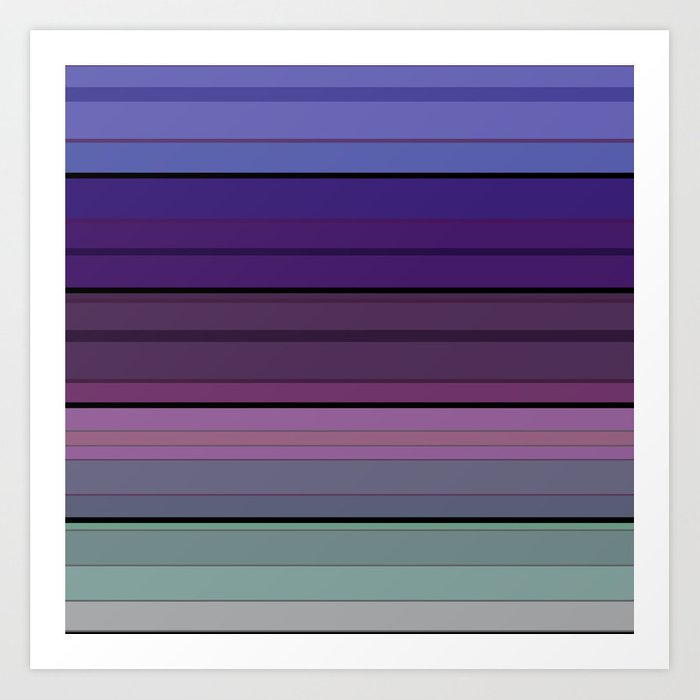 Black blue purple pattern striped . Art Print