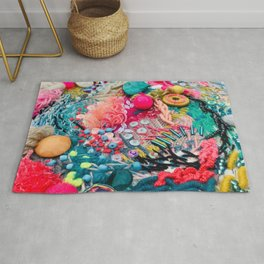 Embroidery original abstract freestyle graffiti contemporary art photographic image multicoloured cross stitch tapestry craft  Rug