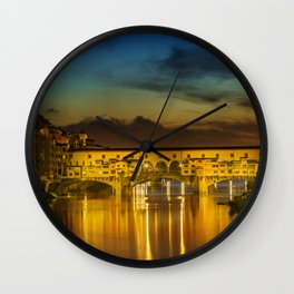 FLORENCE Ponte Vecchio at Sunset Wall Clock