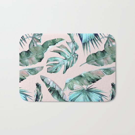 Tropical Palm Leaves Turquoise Green Coral Pink Bath Mat