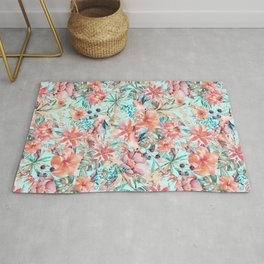 Tropical Jungle Flowers And Birds In Soft Pastels Rug