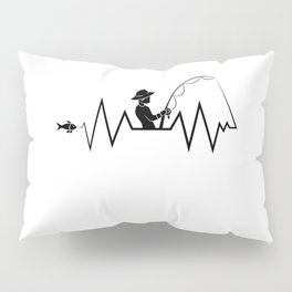 Hearbeat Of A Fisherman Heartrate Fishing Hobby Pillow Sham